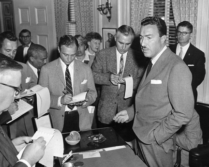 October 11, 1956 - Congressman Adam Clayton Powell during a press conference