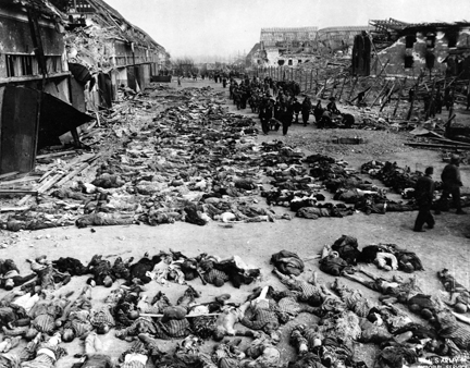 April 12, 1945 - A portion of the bodies found by U.S. troops when they arrived at Nordhausen concentration camp