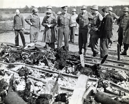 April 12, 1945 - DDE views the charred bodies of prisoners at Ohrdruf