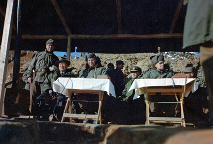 December 4, 1952 - DDE and other high ranking officers and officials observe a field training exercise performed by infantrymen of the Republic of Korea's Capitol Division