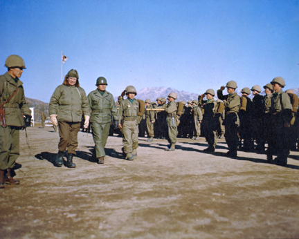 December 4, 1952 - DDE (left) reviews troops of the Republic of Korea's Capitol Division
