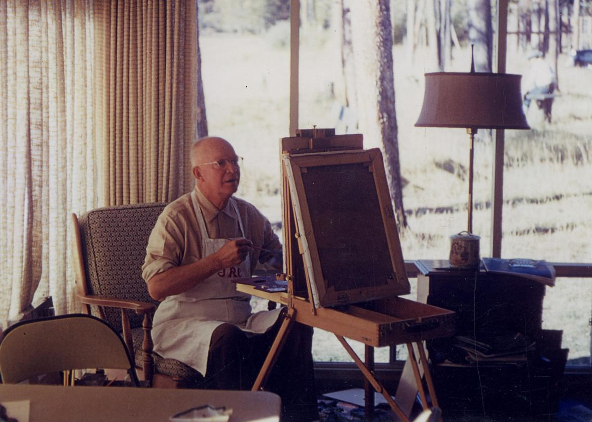Dwight D. Eisenhower paints at Fraser, Colorado.