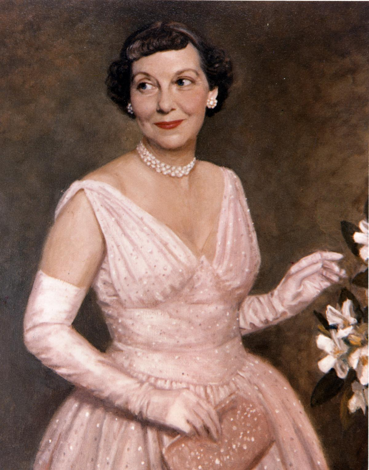 Thomas Stephens portrait of Mamie Eisenhower wearing her 1953 inaugural gown. [62-91]