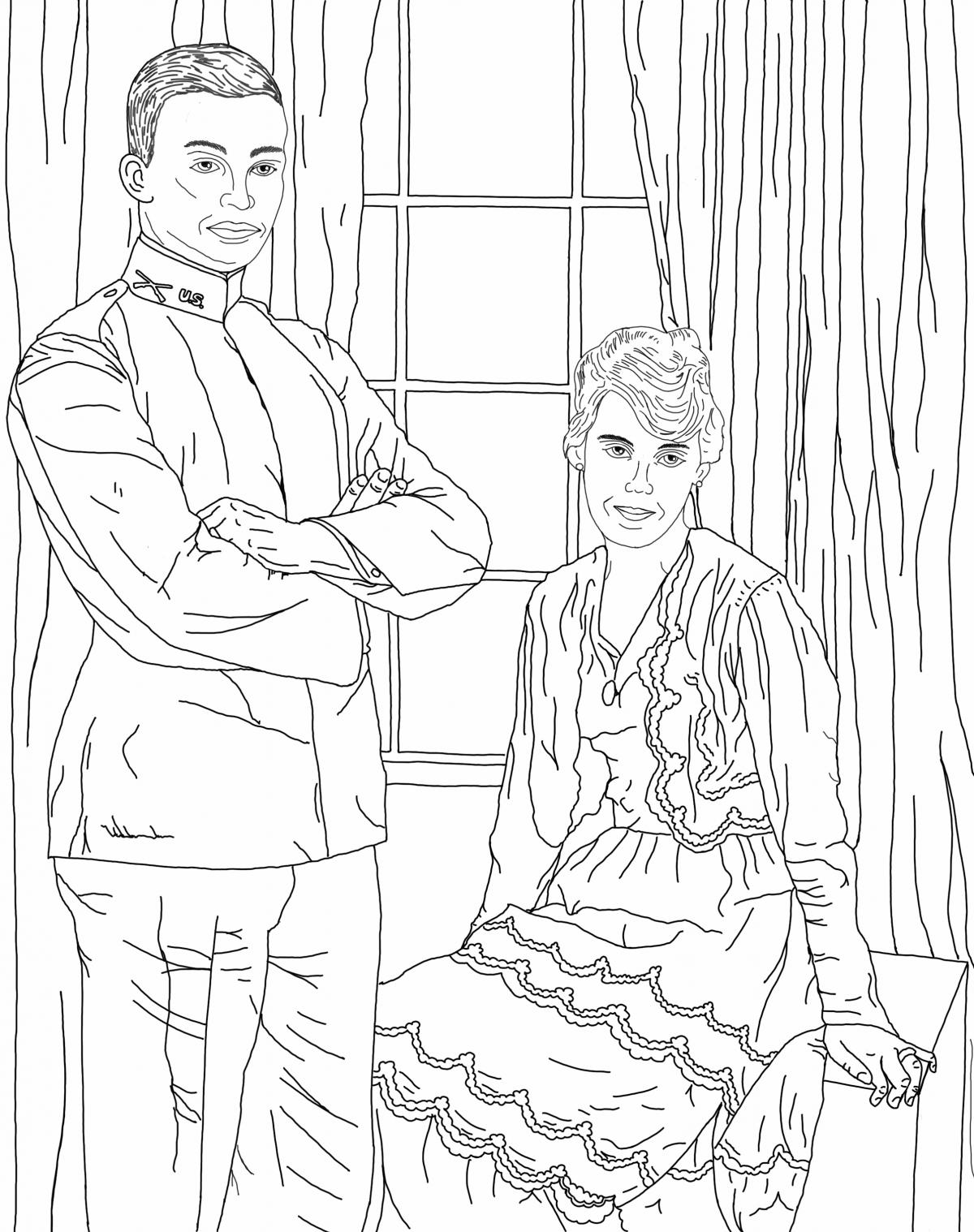 Dwight and Mamie Wedding Photo - coloring page JPG