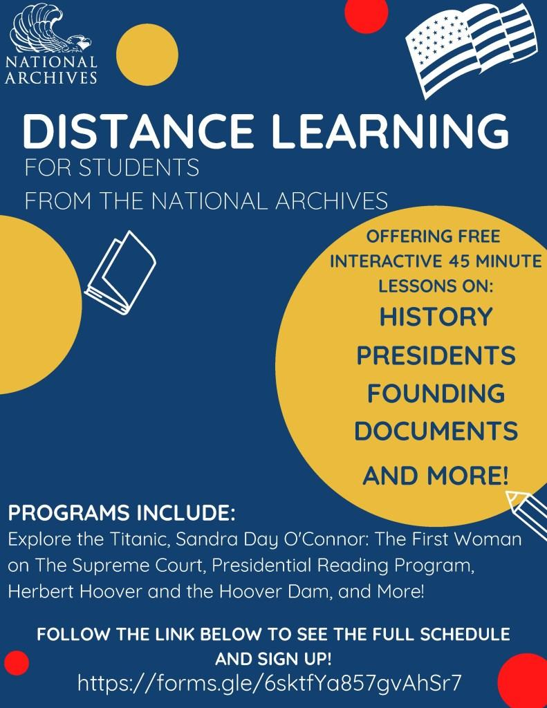 NARA Distance Learning flyer