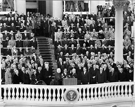 January 21, 1957 - Chief Justice Earl Warren administers the Oath of Office to Dwight D. Eisenhower during the inaugural ceremony