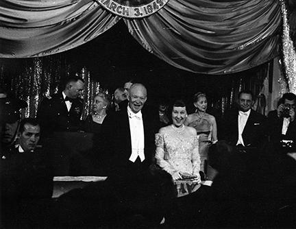 January 21, 1957 - Dwight D. Eisenhower and Mamie Eisenhower attend an inaugural ball