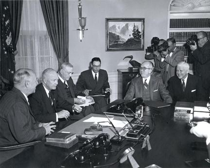 January 13, 1956 - Dwight D. Eisenhower with five of his top advisers who he summoned to discuss his Atoms for Peace program. L to R: Secretary of Treasury Humphrey, Dwight D. Eisenhower, Secretary of State John Foster Dulles, Dillon Anderson, Lewis Strauss, Secretary of Defense Charles Wilson