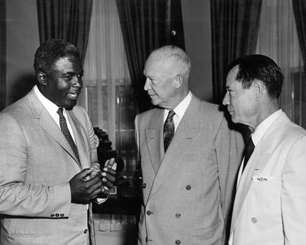 May 14, 1957 - Dwight D. Eisenhower with Jackie Robinson and Joe E. Brown