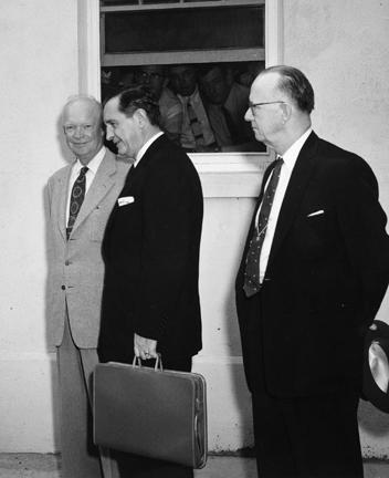 September 14, 1957 - Dwight D. Eisenhower, Arkansas Governor Orval E. Faubus and Arkansas Congressman Brooks Hays at the naval base in Newport, Rhode Island following a two hour conference on the Little Rock school integration controversy