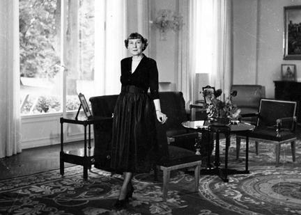 September 22, 1951 - Mamie Eisenhower in the Eisenhower home in Paris, France