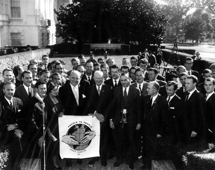 October 11, 1960 - President Eisenhower receives participants in the International Field Hockey Festival which was held in connection with the People-to-People Sports Committee. He greeted the group in the White House Rose Garden