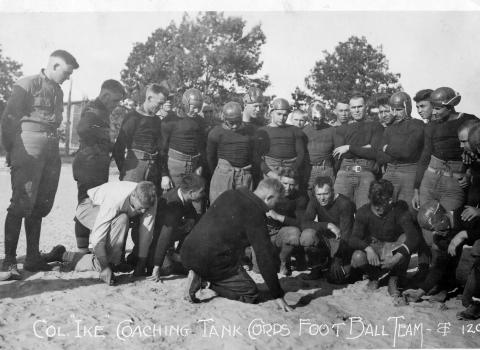 Eisenhower coaches a football team at Camp Meade, Maryland, 1921.