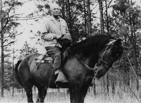 Eisenhower on horseback.