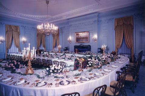 State Dining Room set up for Cabinet Dinner. December 1, 1954 [65-46-2]
