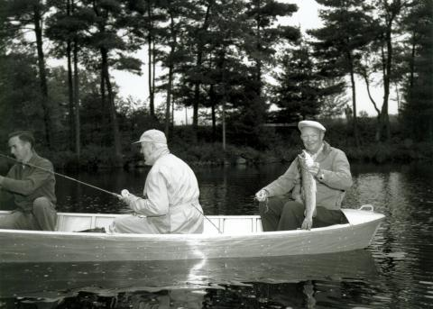 Dwight D. Eisenhower (right), W. Alton Jones (center), and George Wheatley (left) fishing near West Greenwich, Rhode Island. Eisenhower, George Allen, William E. Robinson, James Hagerty, and Howard Snyder were guests of W. Alton Jones at his Hianolands Farms Estate. September 19, 1958.