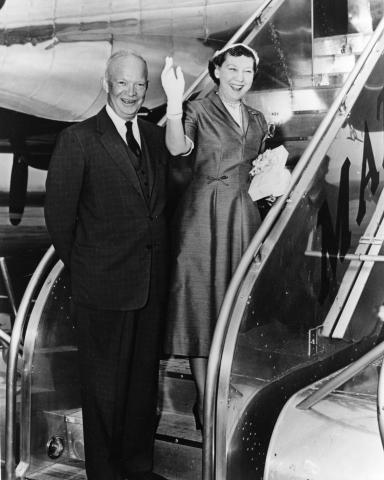 President and Mrs. Eisenhower depart National Airport for Denver, Colorado. August 21, 1954 [62-99]