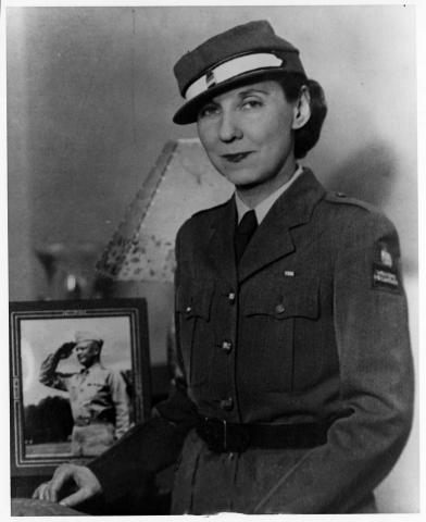 Mamie Eisenhower in the uniform of the American Women's Voluntary Service. Blackstone Studios. [64-368-1]