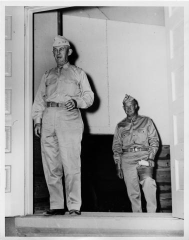 Dwight D. Eisenhower and General Walter Krueger at Fort Sam Houston in San Antonio, Texas. 1941 [64-58-2]