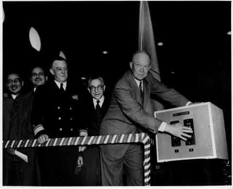 Dwight D. Eisenhower dedicates Columbia University's new cyclotron. Also present, L to R, are John R. Dunning, dean of the School of Engineering; Rear Admiral Thorvald A. Solberg, USN; and Isidor Isaac Rabi, professor of physics. April 2, 1950 [66-1028]