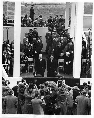 President Eisenhower and Vice President Nixon pose for photographers during the inaugural ceremonies. January 20, 1953 [68-350-28]