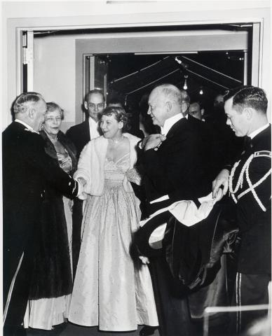 President Dwight D. Eisenhower and Mamie Eisenhower arrive at one of the inaugural balls. January 20, 1953 [68-350-33]