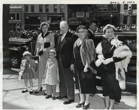 Dwight D. Eisenhower attends Easter Sunday services with his family at the National Presbyterian Church. April 5, 1953 [72-188-6]
