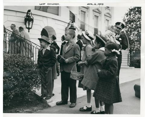 Lost children at Easter Egg Rolling festivities on the south lawn of the White House. April 6, 1953 [72-190-17]