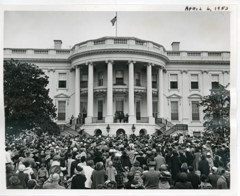 Easter Egg Rolling festivities on the south lawn of the White House. President Eisenhower and his family mingled with the crowd. April 6, 1953 [72-190-9]
