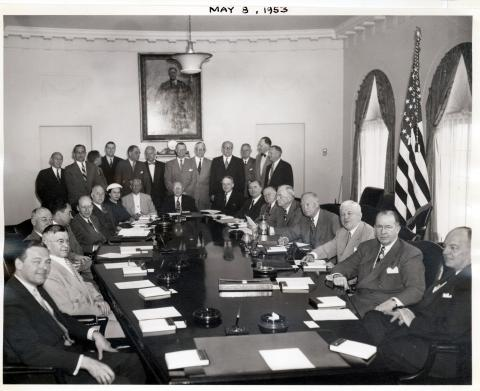 Dwight D. Eisenhower and members of the Cabinet and Administrative Assistants are pictured in the Cabinet Room of the White House. May 8, 1953 [72-262-2]