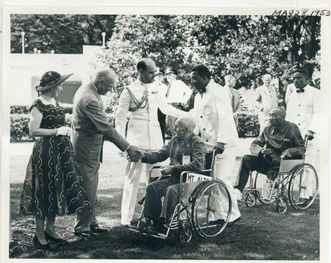 Garden Party given by Dwight and Mamie Eisenhower on the White House lawns. The party was held in honor of disabled veterans from Washington, DC-area hospitals. May 27, 1953 [72-310-11]
