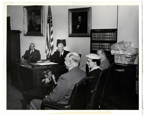 President Dwight D. Eisenhower gives a radio-TV broadcast regarding his first four months in office.  June 3, 1953 [72-320-4]