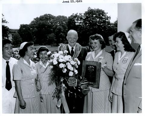 President Eisenhower receives members of the National 4-H Club Camp in the White House Rose Garden. June 22, 1953 [72-344-3]