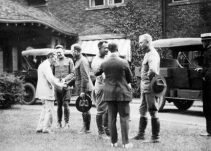1919 Transcontinental Motor Convoy. Stop at Harvey Firestone's home.