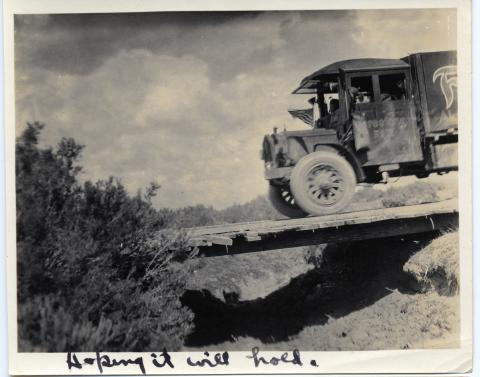 """Hoping it will hold"" 1919 Transcontinental Motor Convoy."