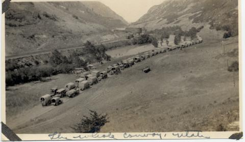 """The whole convoy, Utah"" 1919 Transcontinental Motor Convoy."