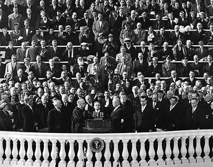 January 20, 1953 - Dwight D. Eisenhower taking the oath of office, administered by Chief Justice Fred M. Vinson