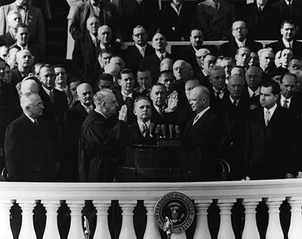 January 20, 1953 - Dwight D. Eisenhower takes the Oath of Office as President of the United States. Chief Justice Fred Vinson administers the oath
