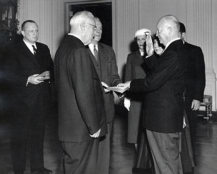 January 20, 1957 - Dwight D. Eisenhower is sworn in by Chief Justice Earl Warren during the private ceremony held in the East Room of the White House