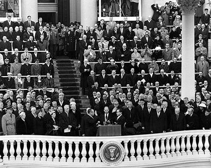 January 21, 1957 - Richard Nixon taking the Oath of Office for his second term. Administering the oath is Senator William Knowland; center is Mark Trice, Secretary of the Senate Minority, who held the Bible