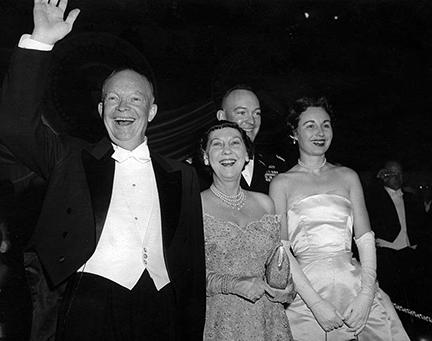January 21, 1957 - Dwight D. Eisenhower and Mamie Eisenhower attend an inaugural ball with their son John S.D. Eisenhower and his wife Barbara