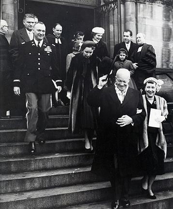 January 20, 1957 - Dwight D. Eisenhower and Mamie Eisenhower leaving the National Presbyterian Church following a pre-inaugural service