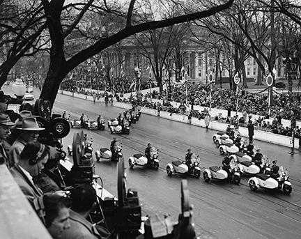 January 21, 1957 - The police motorcycle units leading the inaugural parade