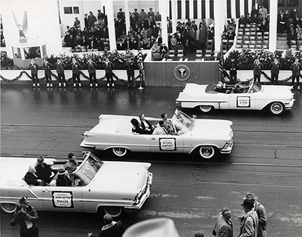 Jaunuary 21, 1957 - Members of the Eisenhower Cabinet arrive at the inaugural parade reviewing stand