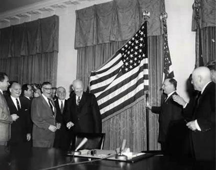January 3, 1959 - Unfurling of the new 49-star flag.