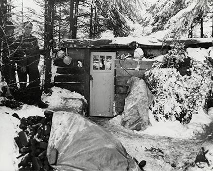 Ardennes-Battle of the Bulge. January 11, 1945 - Snow covered executive post of an artillery battalion near Rotgen, Germany.