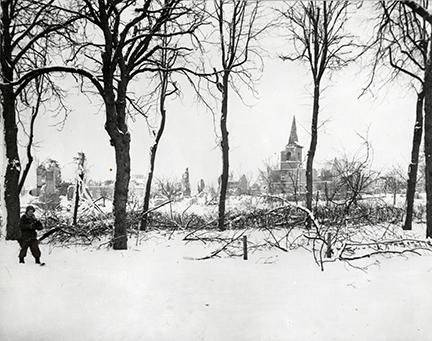 Ardennes-Battle of the Bulge. January 24, 1945 - St. Vith, Belgium, after the Germans had been evacuated by U.S. troops. Snow covers the ground.