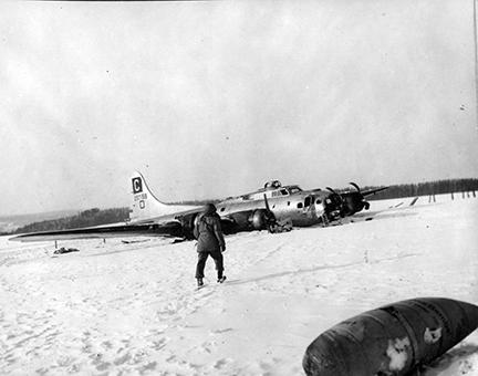 Ardennes-Battle of the Bulge. January 13, 1945 - A crashed plane near Remagne, Belgium.