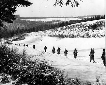 Ardennes-Battle of the Bulge. January 15, 1945 - The 26th Division Engineers return to their normal assignments after a brief tour of duty as infantry. Belgium