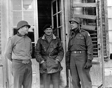Ardennes-Battle of the Bulge. December 26, 1944 - L to R: Major General J. Lawton Collins, Field Marshal Bernard Montgomery and Major General Matthew Ridgway after a conference in Mean, Belgium.